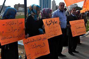 Yermuk Mülteci Kampı'ndaki Filistinlilere destek gösterisi