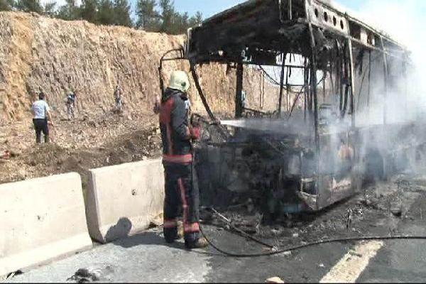 Halk otobüsünde korkunç yangın, 4 ölü 6 yaralı