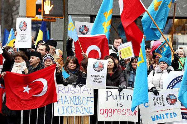 Kırım'a yapılan askeri müdahale New York'ta protesto edildi
