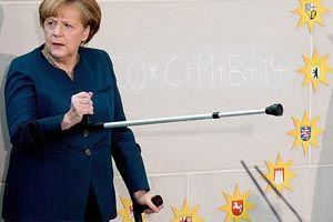 Merkel koltuk değnekleriyle mesaiye başladı