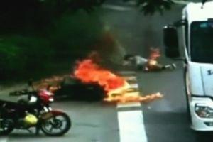 Motosiklet sürücüsü canını zor kurtardı