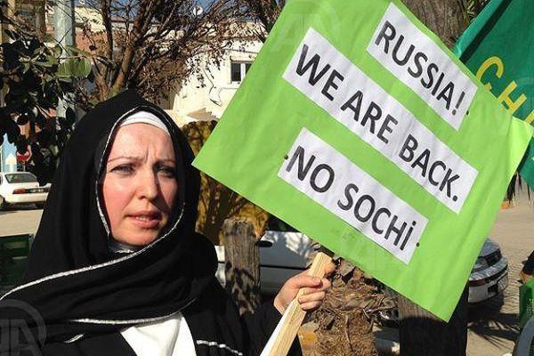 Suriyeli çerkezden 'Soçi' eylemi