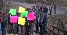 Köylü kadınlar fındık tarlaları için eylem yaptı