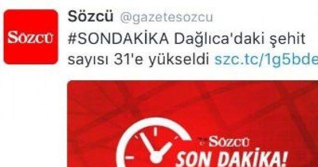 Sözcü PKK'nın ajansını kaynak gösterdi
