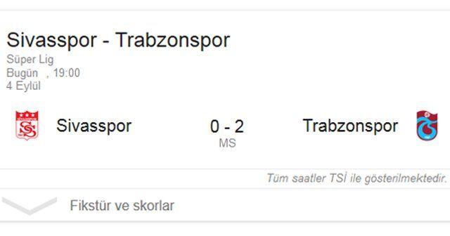 Sivasspor, Trabzonspor maç özeti geniş özeti 0-2 golleri ve sonucu burada