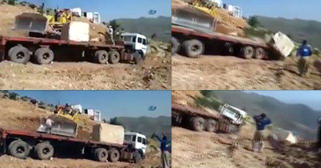 Mermer ocağında inanılmaz kaza