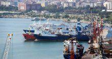 Samsun'da 22 gemi Rusya'ya mal götürmek için bekliyor