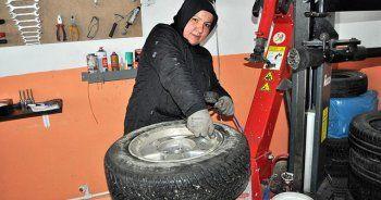 Kadın girişimci KOSGEB desteği ile lastik dükkanı açtı
