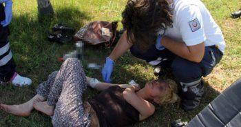 Parkta alkol alan kadın sızıp kaldı