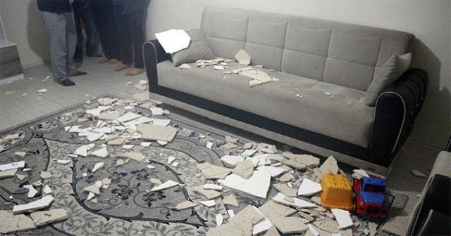 Evin tavan alçısı çöktü: 3 yaralı