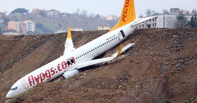Trabzon'daki uçağı kurtarmak için vinç talep edildi