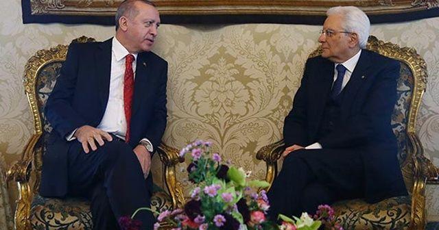 Cumhurbaşkanı Erdoğan, İtalya Cumhurbaşkanı ile bir araya geldi