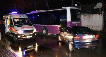 Alkollü ve ehliyetsiz sürücü belediye otobüsüne çarptı