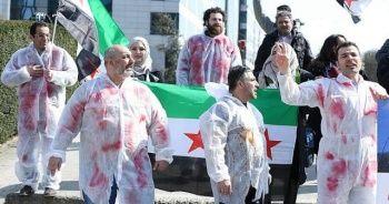 Brüksel'de Rusya ve Esed rejimi protestosu