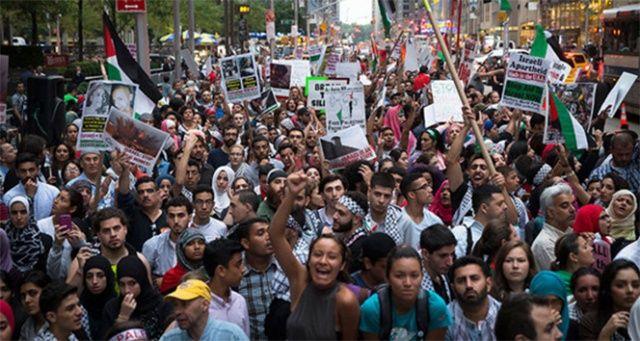 New York'ta İsrail'in Gazze'ye uyguladığı abluka protesto edildi