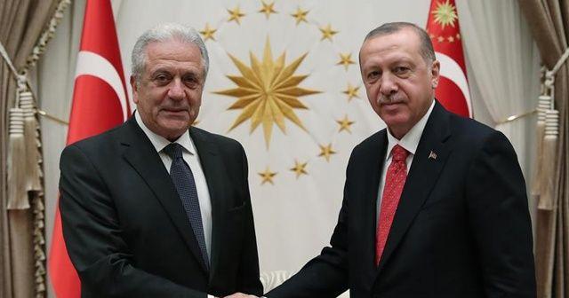 Cumhurbaşkanı Erdoğan, Avramopoulos'u kabul etti