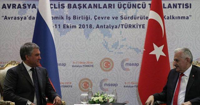 TBMM Başkanı Yıldırım, Rusya Devlet Duması Başkanı ile görüştü