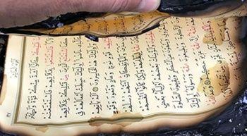 Denizli'de yanan lojmanda Kur'an-ı Kerim zarar görmedi