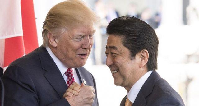 ABD Başkanı Trump ile Japon Başbakanı Abe bir araya geldi