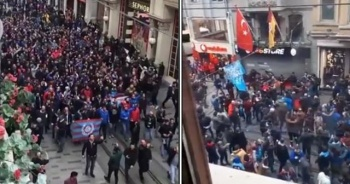 Beşiktaş maçı için toplanan Trabzonlular GS Store'a saldırdı