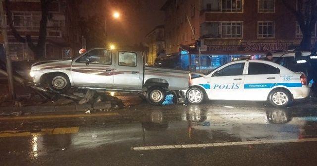 Ankara'da polis-şüpheli kovalamacası kazayla bitti
