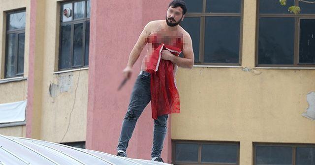 Elinde Türk Bayrağı ile intihar girişiminde bulundu