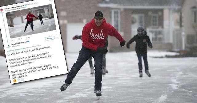 İBB'den Buz Hokeyi Federasyonuna  esprili kar cevabı