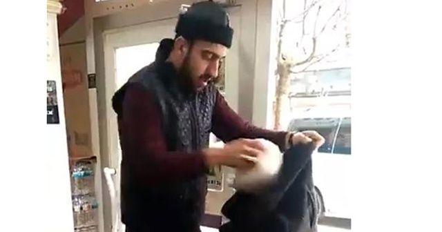 Poşete para vermemek için montunu poşet yaptı
