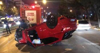 Takla atan lüks otomobilden burnu bile kanamadan çıktı