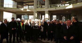 Cumhurbaşkanı Erdoğan Taksim Camisi inşaatını gezdi