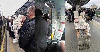 Metrobüste 'astronot' şaşkınlığı