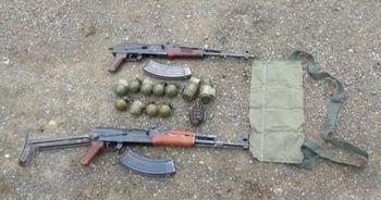 Suriye sınırında menfeze gizlenmiş silah ve mühimmat bulundu