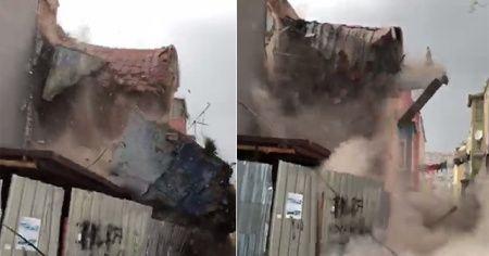 İstanbul Balat'ta 3 katlı binanın çökme anı görüntüleri ortaya çıktı