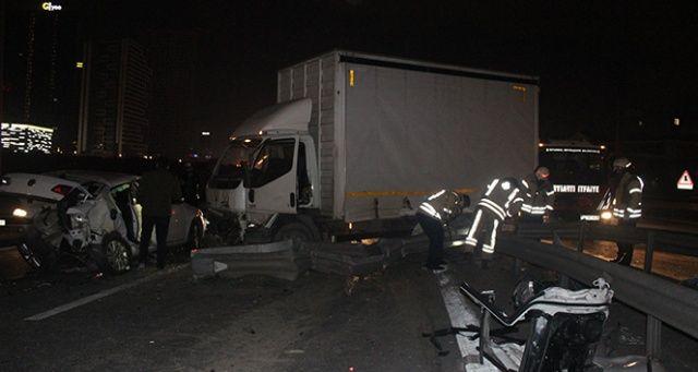 Basın ekspres yolunda feci kaza: 3 yaralı