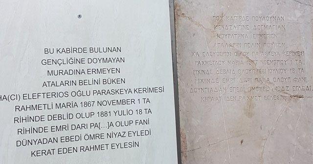 Yıllarca şeker tezgahı olarak kullanılan mermer, Rum kadına ait 138 yıllık mezar taşı çıktı