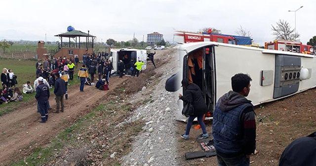 Denizli'de öğrencileri taşıyan otobüs devrildi: 20'den fazla yaralı