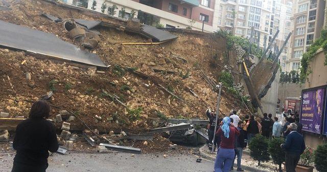 Başakşehir'de bir sitenin istinat duvarı çöktü, 1 ölü, 1 yaralı