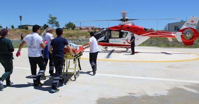 Miraç bebeğin duran kalbi çalıştırıldı, hava ambulansıyla nakledildi