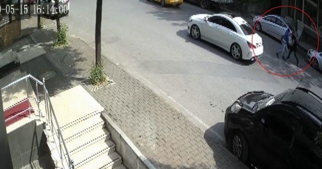 Yavuz sürücü gaspçıyı böyle bastırdı