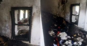 Cinayet şüphelisinin evi yakıldı