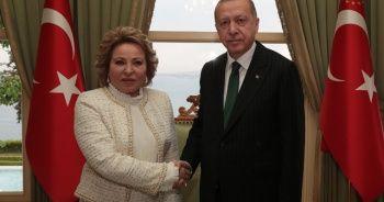 Cumhurbaşkanı Erdoğan Rusya Federasyon Konseyi Başkanı Valentina Matviyenko'yu kabul etti