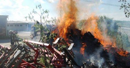Binlerce sebze sandığı alev alev yandı