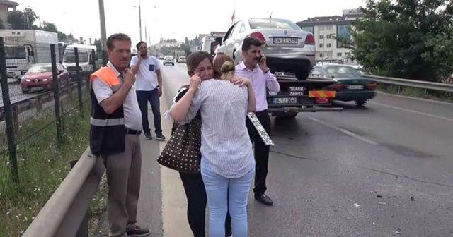 Kadın sürücüyü gözyaşlarına boğan kaza