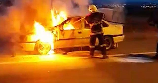 Kırıkkale'de otomobil alev alev yandı