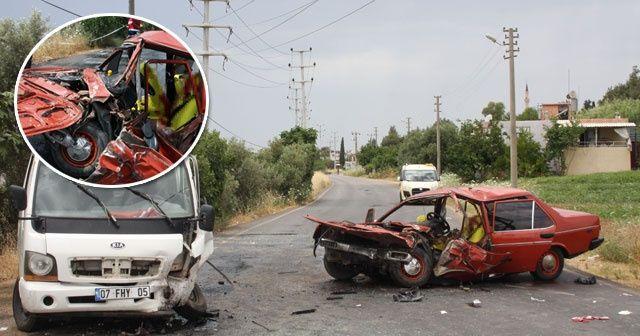 Otomobille kamyonet çarpıştı: 1 ölü, 3 yaralı