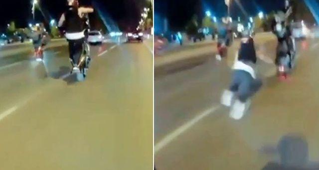 Motosikletli magandanın tek teker kazası