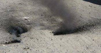 Asfalttan yükselen dumanlar paniğe neden oldu