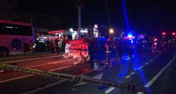 Yolcu otobüsü takla attı: 2 yaralı