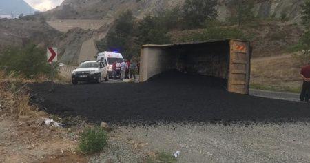 Artvin'de asfalt yüklü kamyon devrildi