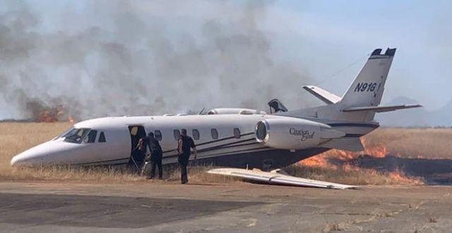 10 kişiyi taşıyan özel jet alev aldı!